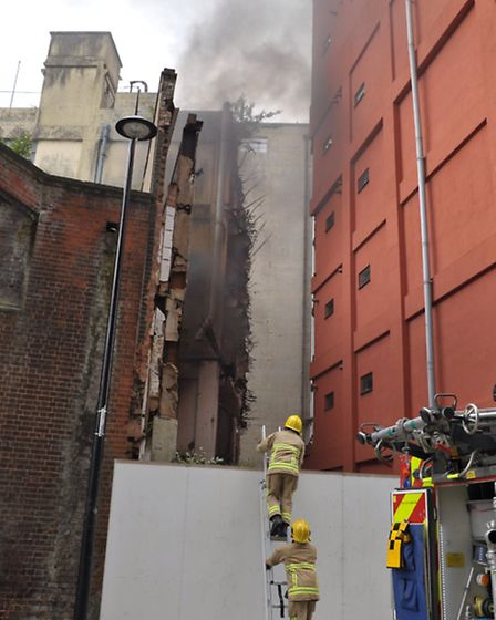 Firefighters were called to a fire in the derelict building opposite Dance East on the Ipswich Water