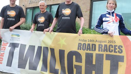 Members of Jaffa running club, Carl Ashton and Clive sparkes, with Paul Winter of Ipswich building s