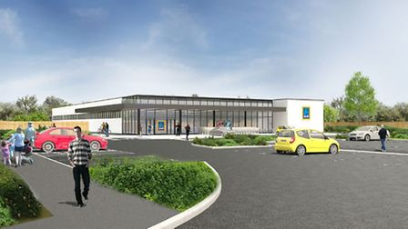 The proposed new Aldi for Scrivener Drive on the edge of Ipswich.