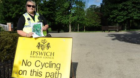 Sarah Bones, park patrol supervisor for parks and open spaces with the cycling awareness campaign in