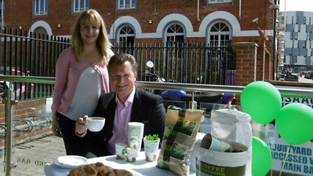 Green Cup coffee at Isaacs on the Quay, Jeff Barnacle, sales director, and Haylee Cahill