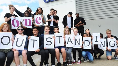 One students celebrate an outstanding Ofsted result.
