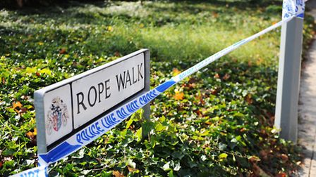 Police tape at the site of the alleged attempted rape in Rope Walk, Ipswich