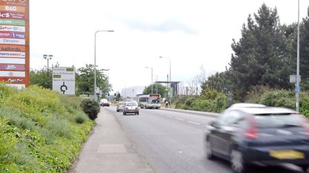 Traffic flows on the A1189 between John Lewis and Sainsbury's Warren Heath store.