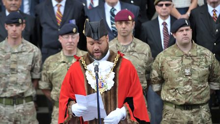 The Mayor of Ipswich, Glen Chisholm joined veterans, members of the armed forces and residents to fl