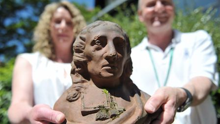 Janet Peacock has found an abandoned pottery head and has given it to the borough council. Janet wit