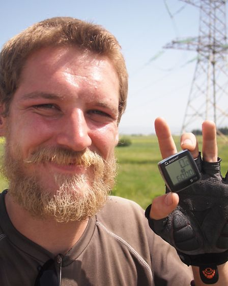Gary Taylor is trying to circumnavigate the globe on his bicycle.
