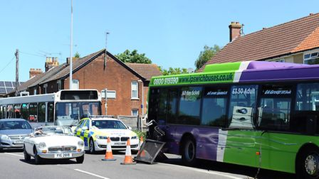 Bus and truck involved in collision on Norwich Road, Ipswich