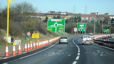 The northbound approach to the Copdock Interchange on the A12