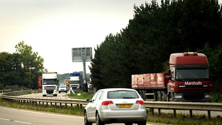 Collision on the A14 at Felixstowe.