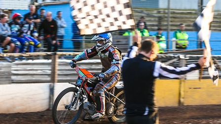 Ashley Morris takes the chequered flag in heat two of the Ipswich v Rye House (Premier League) meeti