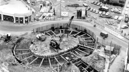 The Princes Street roundabout and pedestrian underpasses being built in May 1965. This picture was t