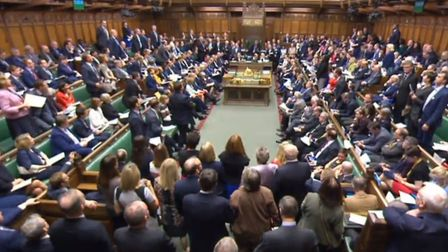 A general view of the debating chamber in The House of Commons, during Prime Minister's Questions in