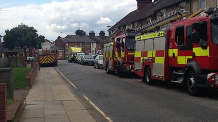 Emergency services in Cemetery Street, Ipswich, after an incident in nearby Finchley Road