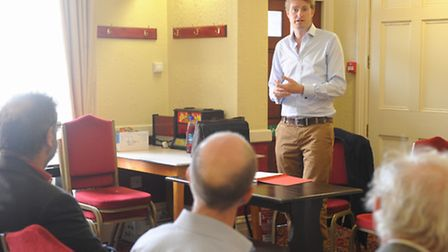 Shadow minister Tristram Hunt meets members of the Labour Party at Ipswich Labour Club, Silent Stree