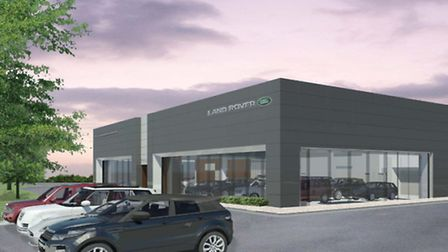 An artist's impression of the proposed new Marshall dealership on Futura Park, Ipswich.