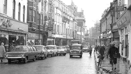 Westgate Street, Ipswich in January 1965 with the Oriental restaurant on the right. On the left were
