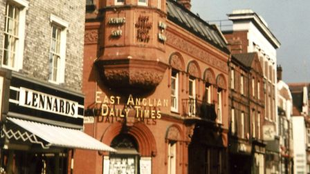 The East Anglian Daily Times/Evening Star offices and printing works in Carr Street in April 1966. (