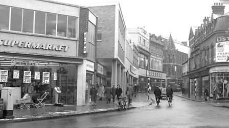 Carr Street, Ipswich, from Majors Corner in January 1965 with ElmoÕs supermarket on the left. The Co