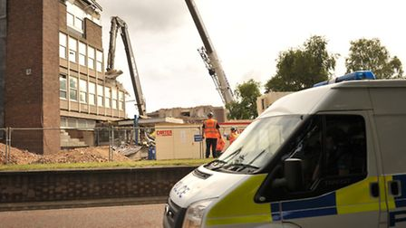 Demolition work continues at Ipswich police station.