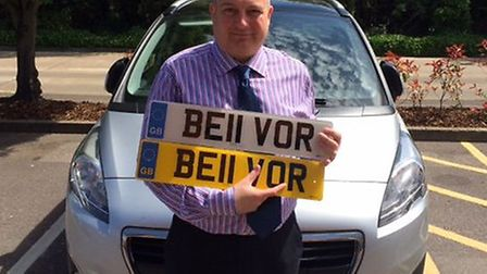 Lee Durrant of Belvoir, Ipswich with the personalised number plate he bought at auction - with the £