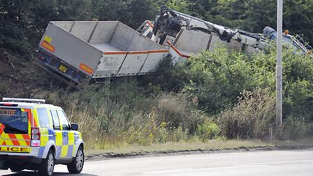 A lorry crashed into trees at the A14 roundabout in Felixstowe.