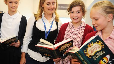 Cressida Cowell, author of How to train your Dragon at Ipswich High School for girls talking about h