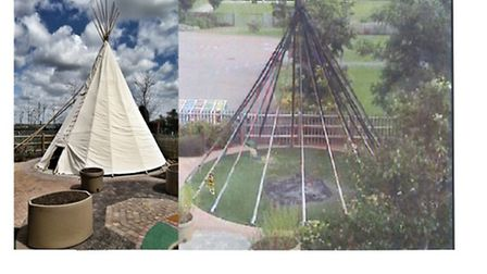 CCTV picture taken during the summer holiday of the fire-damaged teepee at Thomas Wolsey School, and