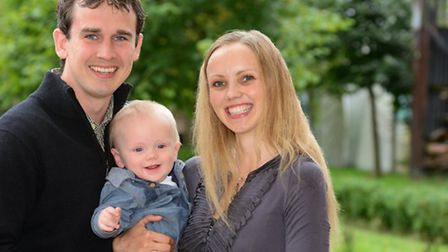Emma and James Strachan with their son Percy