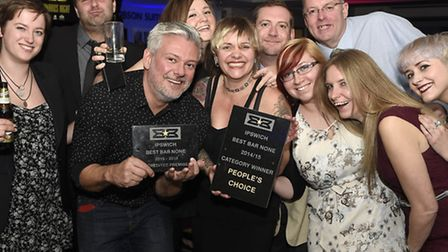 Best Bar None awards People's Choice winners The Dove at Ipswich Town FC on Thursday evening
