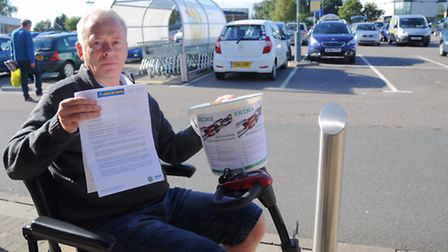 Andrew Blacker who was fined for parking too long at Beardmore Park in Martlesham Heath while collec