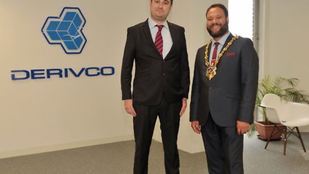 Ipswich Mayor Glen Chisholm with the director of Derivco Matt David at the opening of their new off