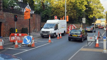 Roadworks at the junction of Handford Road and Portman Road in Ipswich.