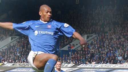 Marcus Bent playing at Portman Road for Ipswich against Wimbledon in 2003