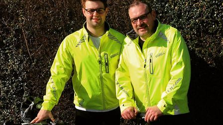 Alex and Daniel Barr who cycled from London to Paris to raise money for St Elizabeth Hospice.