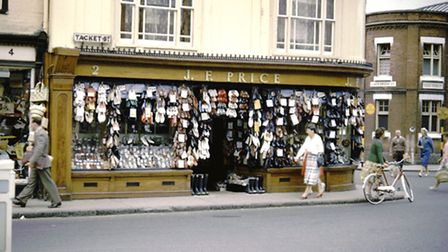 Betty Ward said: Prices shoe shop at the junction of Tacket Street and Lower Brook Street, featur