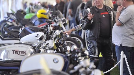 Julian King and Ian Lea talk about custom bikes at the Copdock Motorcycle Show.