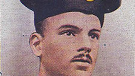 A picture of Private Samuel Harvey on a cigarette card - honoured as a hero