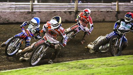 Emil Grondal (yellow helmet), Rohan Tungate (blue), Gino Manzares (red) and Ulrich Ostergaard battle