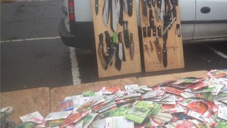 The knives on display at the car boot sale
