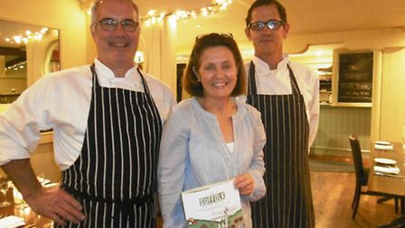 Anthony and Kathy Brooks with chef Matthew Bennett, and the new Suffolk cook book