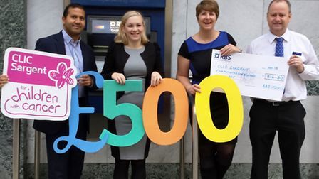 (L to R) are Milon Dhar (Relationship Manager) Sophie Milburn (Bank Manager), Tracy Westley and Nige