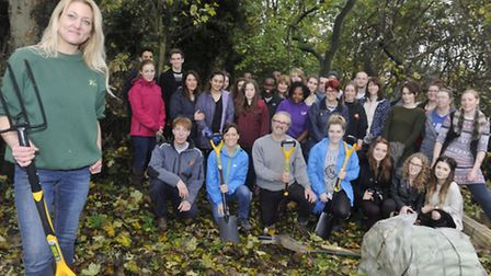 Jo Brooks, manager of Brickmakers Wood for Eden-Rose Coppice, teamed up with UCS students to clear u