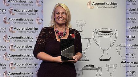 Candace Rose, of Suffolk Canine Creche, Martlesham with her apprenticeship award