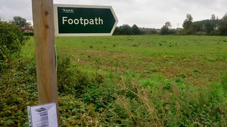 The area off Mount Pleasant in Framlingham which will now see 95 new homes built on it.