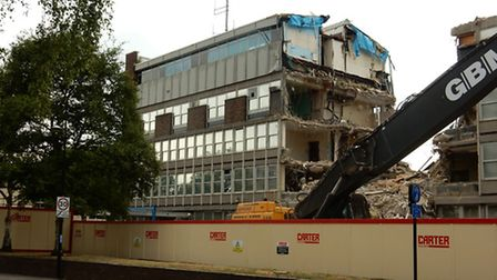 The police station during the demolition process