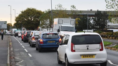 Heavy traffic leading up to Ravenswood Roundabout, Ipswich