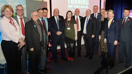 All of the speakers at the Turning our Town around event line up for the camera at UCS on Thursday