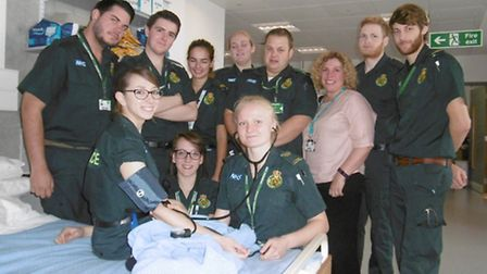 UCS paramedics science course. Some of the students with lecturer Mary Mutimer, who is also a para