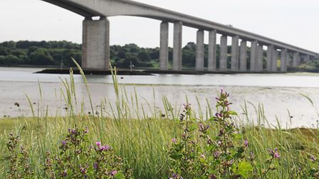 Two vehicles have crashed on the A14 just after the Orwell Bridge.